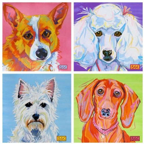Color Dogs Canvas Prints Ii Set Of Four And Artwork In Decor : All Intended For Dogs Canvas Wall Art (Image 7 of 20)