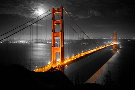 Color On Black And White Canvas Prints Pertaining To Golden Gate Bridge Canvas Wall Art (Image 8 of 20)