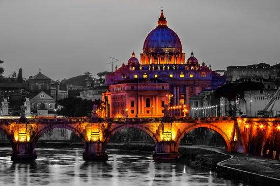 Color On Black And White Canvas Prints Regarding Canvas Wall Art Of Rome (Image 11 of 20)