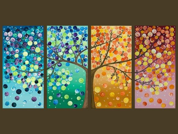 Colorful Abstract Art Original Artwork Acrylic Gift For Her Wall For Happiness Abstract Wall Art (Image 9 of 20)