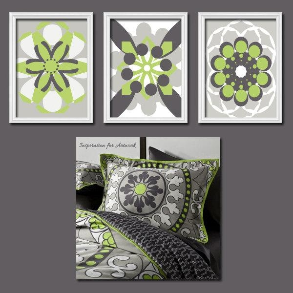 Colorful Bold Grey Lime Green Charcoal Flourish Artwork Set Of 3 Pertaining To Lime Green Abstract Wall Art (Image 5 of 20)
