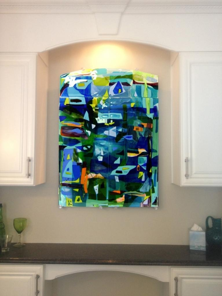 Colorful Fused Glass Wall Art Panel Designer Glass Mosaics Within Throughout Abstract Fused Glass Wall Art (Image 7 of 20)