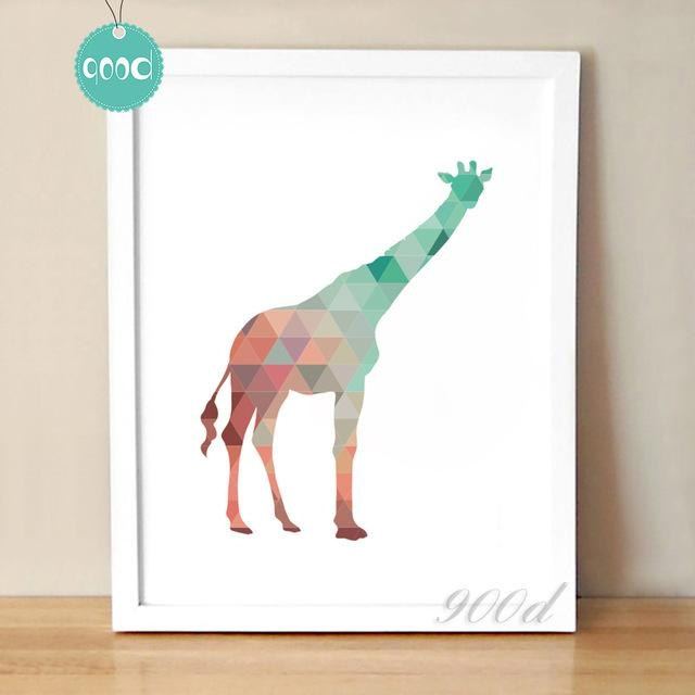 Colourful Geometric Giraffe Canvas Art Print Poster, Wall Pictures For Giraffe Canvas Wall Art (Image 6 of 20)
