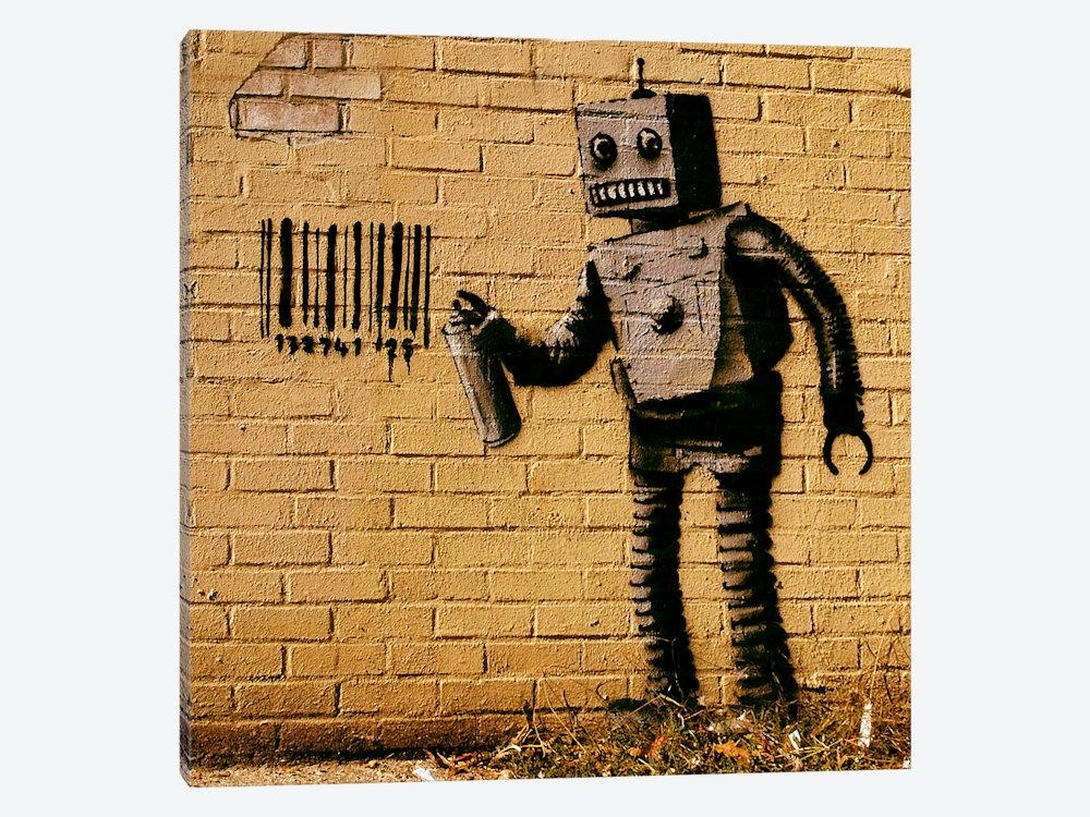 Coney Island Barcode Robot Yellow Canvas Wall Artbanksy | Icanvas Regarding Robot Canvas Wall Art (Image 5 of 20)