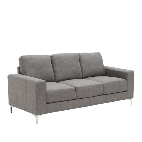 Contemporary 3 Seater Sofa In Grey With Metal Legs Throughout Modern 3 Seater Sofas (View 7 of 10)