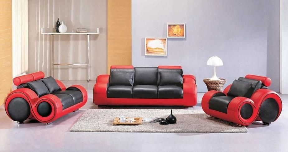 Contemporary Black And Red Leather Sofa Set Atlanta Georgia V4088 Pertaining To Red And Black Sofas (Image 2 of 10)