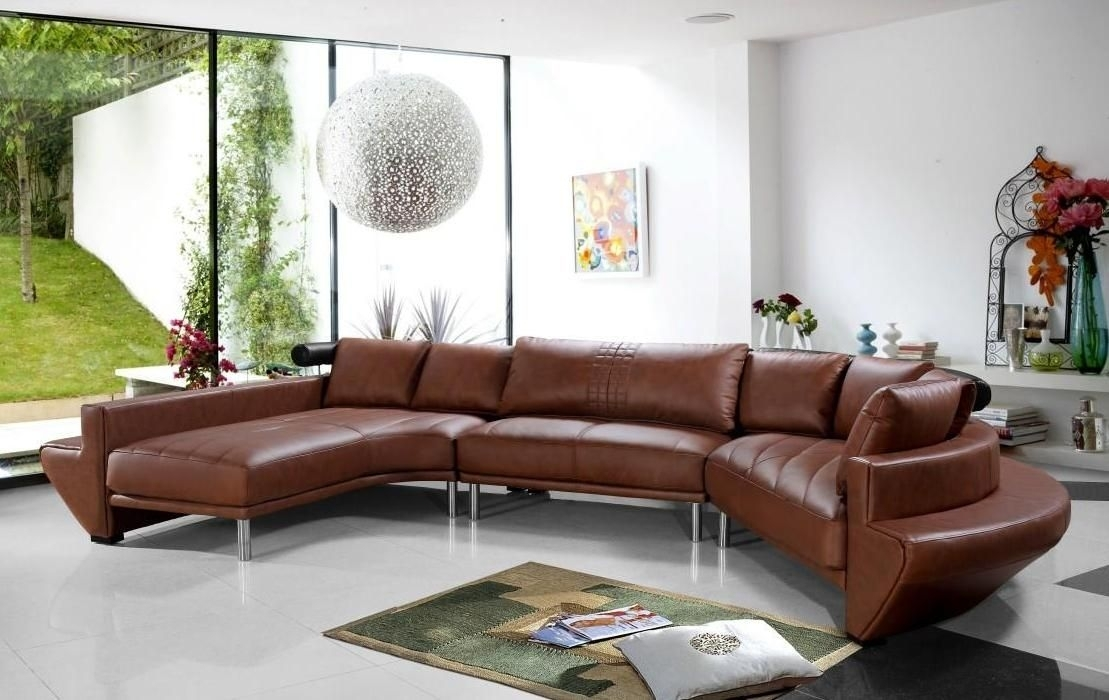 Contemporary Brown Leather Sectional Sofa Nebraska – $2, (View 1 of 10)