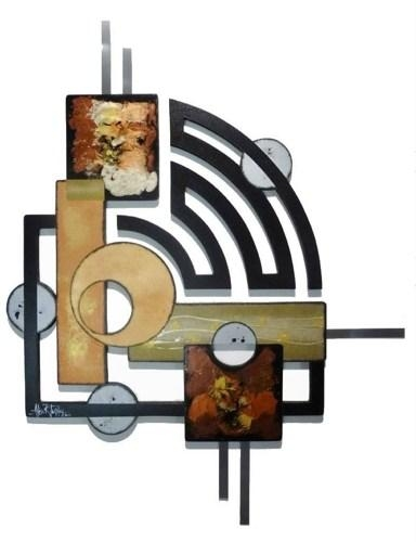 Contemporary Modern Geometric Abstract Art Wood Metal Wall Throughout Geometric Modern Metal Abstract Wall Art (View 14 of 20)