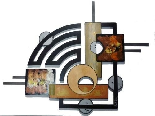 Contemporary Modern Geometric Abstract Art Wood Metal Wall With Geometric Modern Metal Abstract Wall Art (Image 9 of 20)