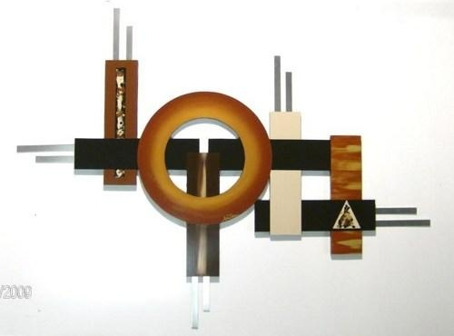 Contemporary Modern Geometric Abstract Wood Metal Wall Sculpture 4 Throughout Geometric Modern Metal Abstract Wall Art (Image 10 of 20)