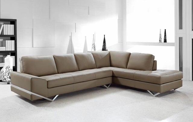 Contemporary Sectional Sofa In Latte Leather – Modern – Living Room Intended For Contemporary Sectional Sofas (Image 1 of 10)