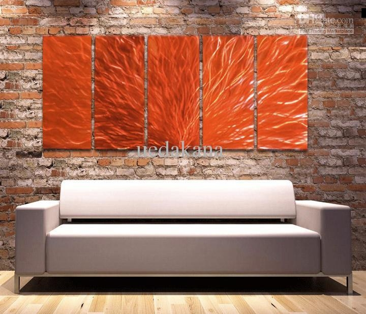 Contemporary Wall Decor Metal Decorating Ideas With Regard To The Pertaining To Abstract Orange Wall Art (Image 6 of 20)