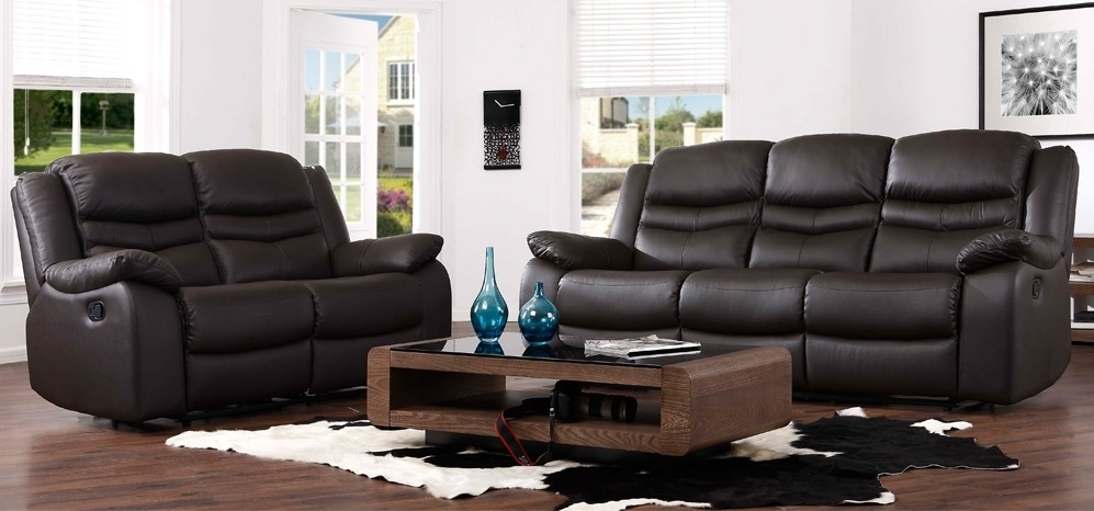 Contour Espresso Brown Reclining 3 + 2 Seater Leather Sofa Set Within 2 Seater Recliner Leather Sofas (View 5 of 10)