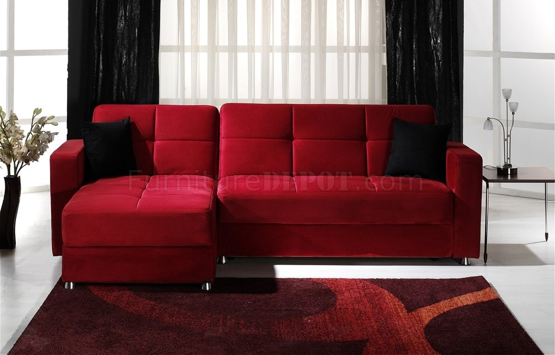 Convertible Sectional Sofa W/storages In Red Microfiber Regarding Red Sectional Sofas (Image 3 of 10)