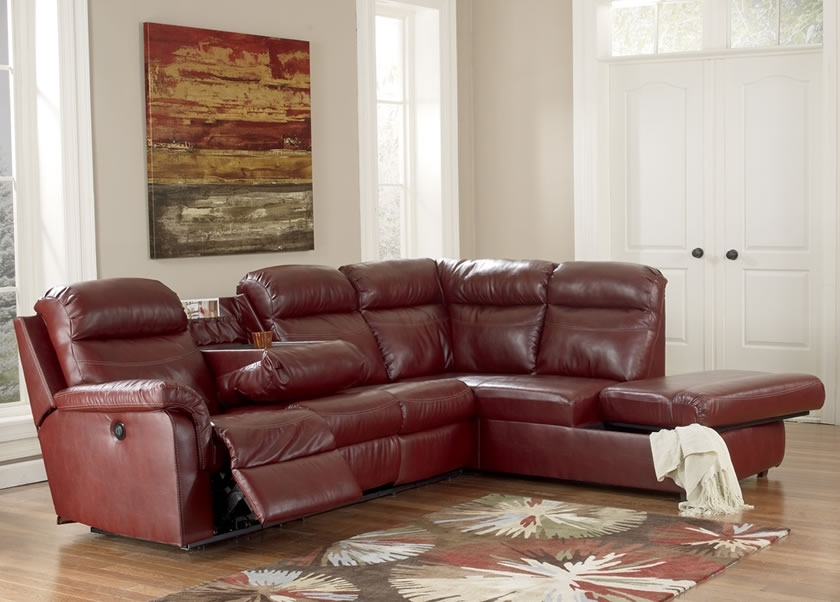 Cool Red Leather Sectional Sofa With Recliners Centerfieldbar Regarding Small Red Leather Sectional Sofas (Image 3 of 10)