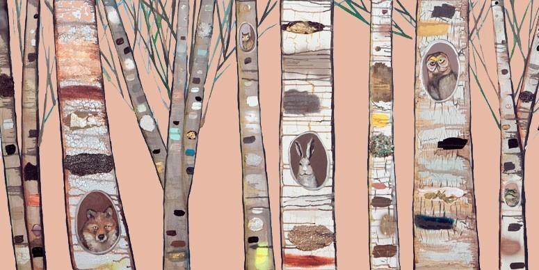 Coral Birch Trees Canvas Wall Artoopsy Daisy – Rosenberryrooms With Birch Trees Canvas Wall Art (Image 7 of 20)