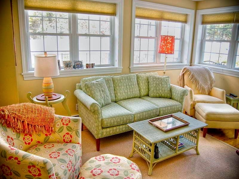 Country Cottage Style Living Room With Floral Sofa And Club Chairs Within Cottage Style Sofas And Chairs (Image 6 of 10)
