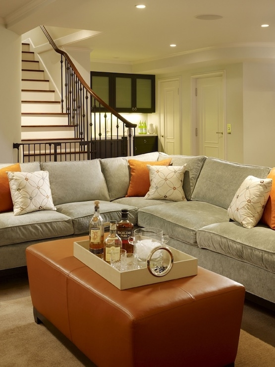 Cozy, Chic Blue Gray Tobacco Basement Living Space Design! Gray Throughout Living Spaces Sectional Sofas (Image 1 of 10)