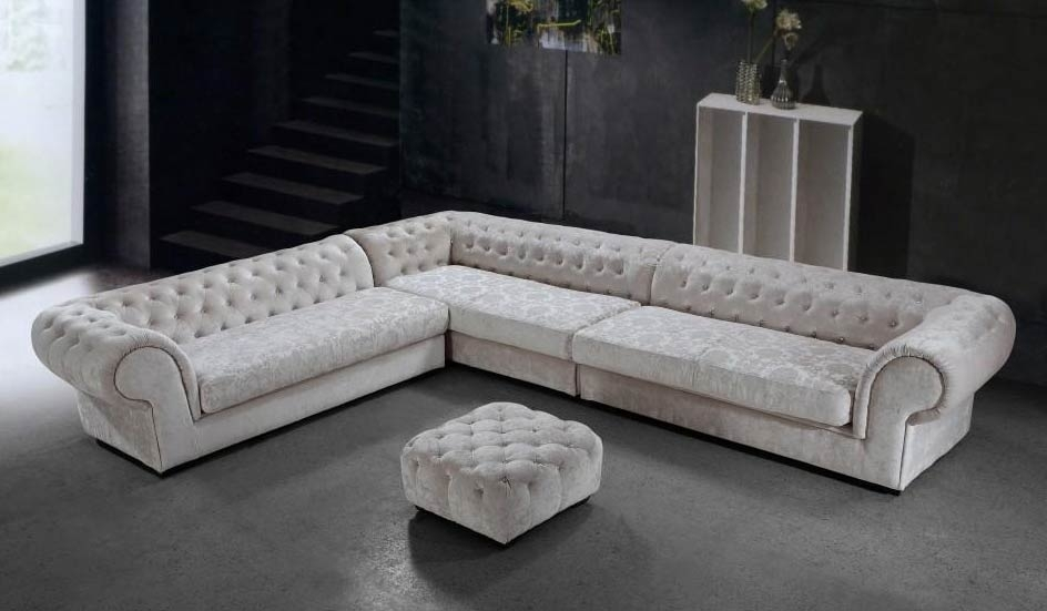 Cream Dream Microfiber Sectional Sofa And Ottoman | Fabric Sectional For Modern Microfiber Sectional Sofas (Image 5 of 10)