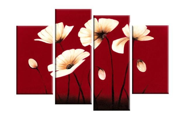 Cream Flowers On Red Background – 4 Panel Canvas Print Within Red Flowers Canvas Wall Art (Image 2 of 20)