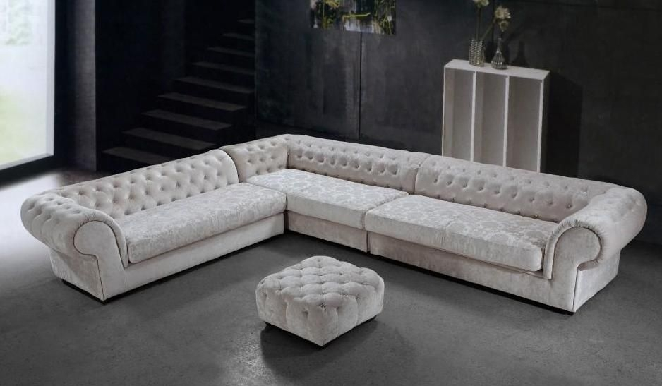 Cream Micro Fiber Sectional Sofa And Ottoman Connecticut – $2, (Image 1 of 10)
