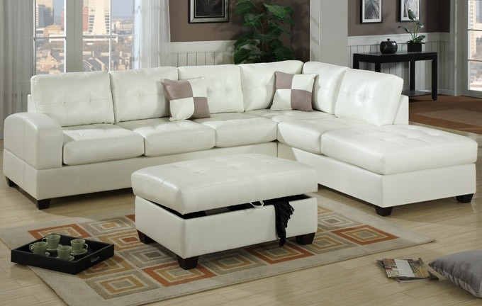Cream White Leather Sectional Sofa F7359 Lowest Price – Sofa Within White Sectional Sofas (Image 1 of 10)