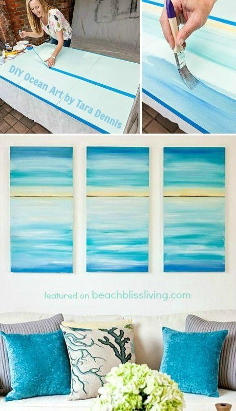 Create A Soothing Beach Vibe With Easy Diy Ocean Canvas Art In Beach Themed Canvas Wall Art (Image 10 of 20)