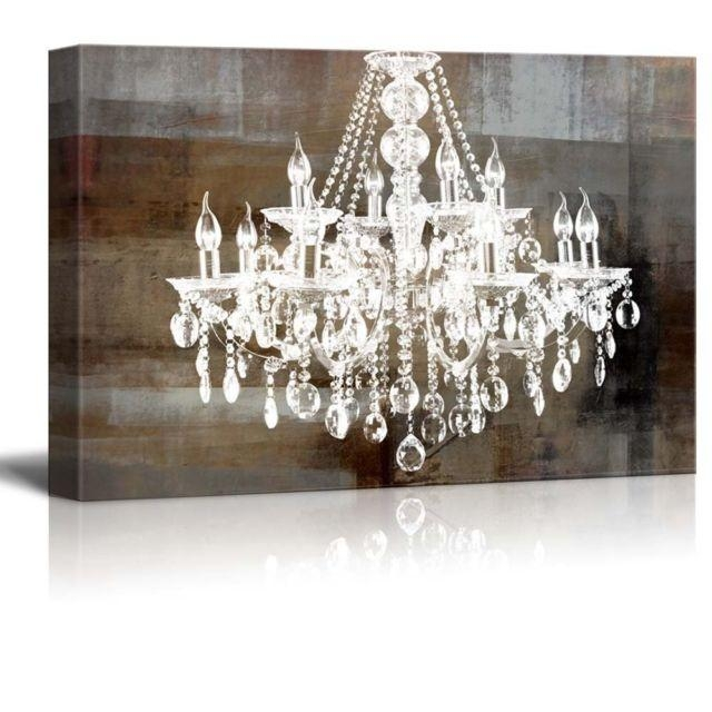 Crystal Chandelier Vintage Large Canvas Framed Wall Art Print Regarding Chandelier Canvas Wall Art (Image 8 of 20)
