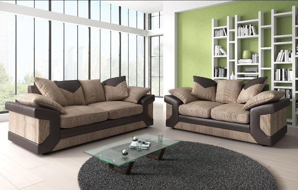 Cushion Back Fabric Sofa Set | Sofas Direct Regarding Fabric Sofas (Image 1 of 10)