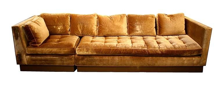 Custom Gold Silk Velvet Sectional Sofa, Usa 2000 At 1Stdibs For Gold Sectional Sofas (View 9 of 10)