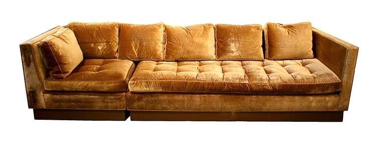 Custom Gold Silk Velvet Sectional Sofa, Usa 2000 At 1Stdibs Inside Velvet Sectional Sofas (Image 6 of 10)