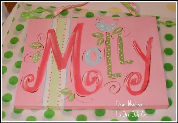 Custom Hand Painted Name Plaque Canvas Airplane Design | Custom For Custom Nursery Canvas Wall Art (View 12 of 20)