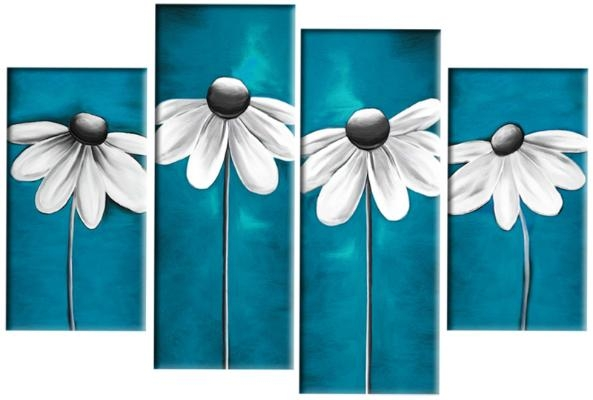 Daisies In Teal Grey White Floral Daisy Line 4 Panel Canvas Wall Regarding Blue Canvas Wall Art (Image 10 of 20)