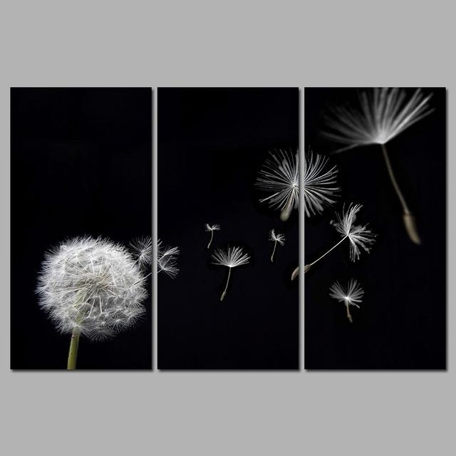 Dandelion Flower Flying Black And White Decoration Canvas Pertaining To Dandelion Canvas Wall Art (View 7 of 20)