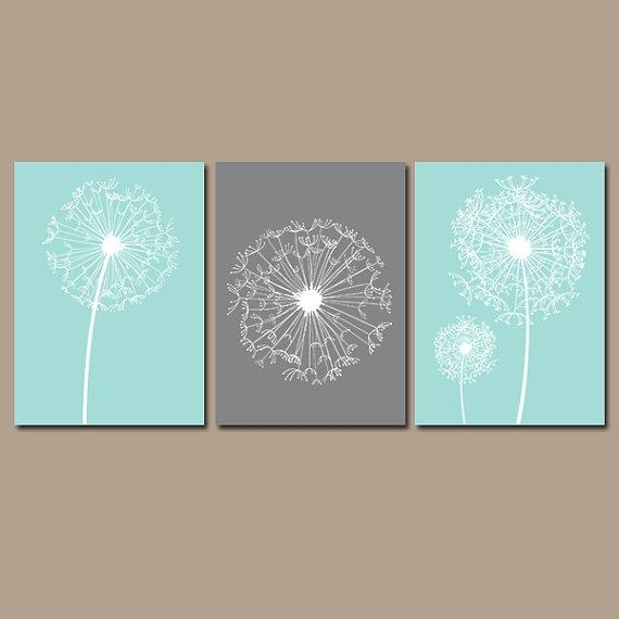 Dandelion Wall Art Canvas Or Prints Aqua Gray Bedroom For Dandelion Canvas Wall Art (Image 8 of 20)