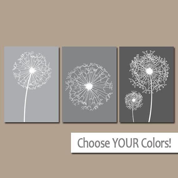 Dandelion Wall Art Gray Ombre Bedroom Pictures Canvas Or With Bathroom Canvas Wall Art (View 13 of 20)