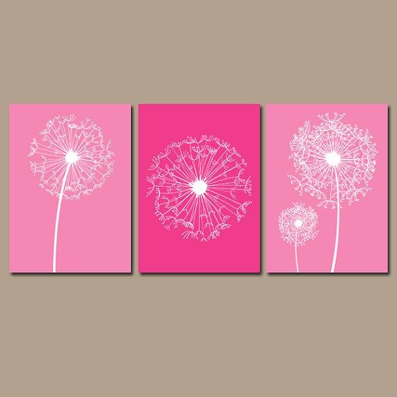 Dandelion Wall Art – Hot Pink Bedroom Pictures – Canvas Or Prints Regarding Pink Canvas Wall Art (Image 4 of 20)