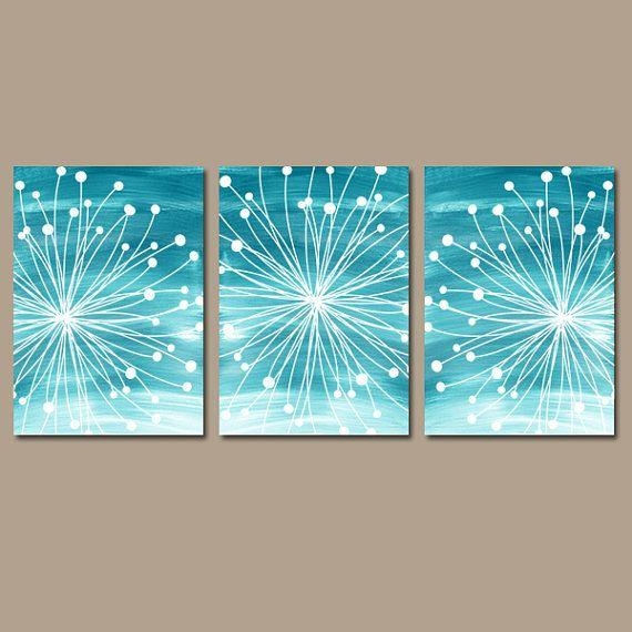 Dandelion Wall Art – Teal Bedroom Wall Art – Watercolor Canvas Or For Dandelion Canvas Wall Art (Image 7 of 20)