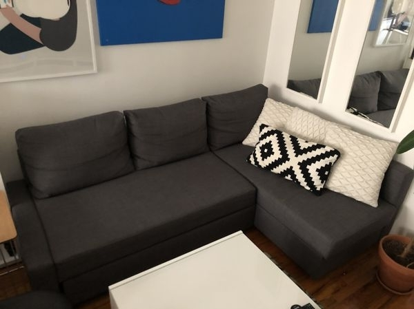 Dark Gray Sectional Sofa Bed (Furniture) In Queens, Ny – Offerup Inside Queens Ny Sectional Sofas (Photo 8 of 10)