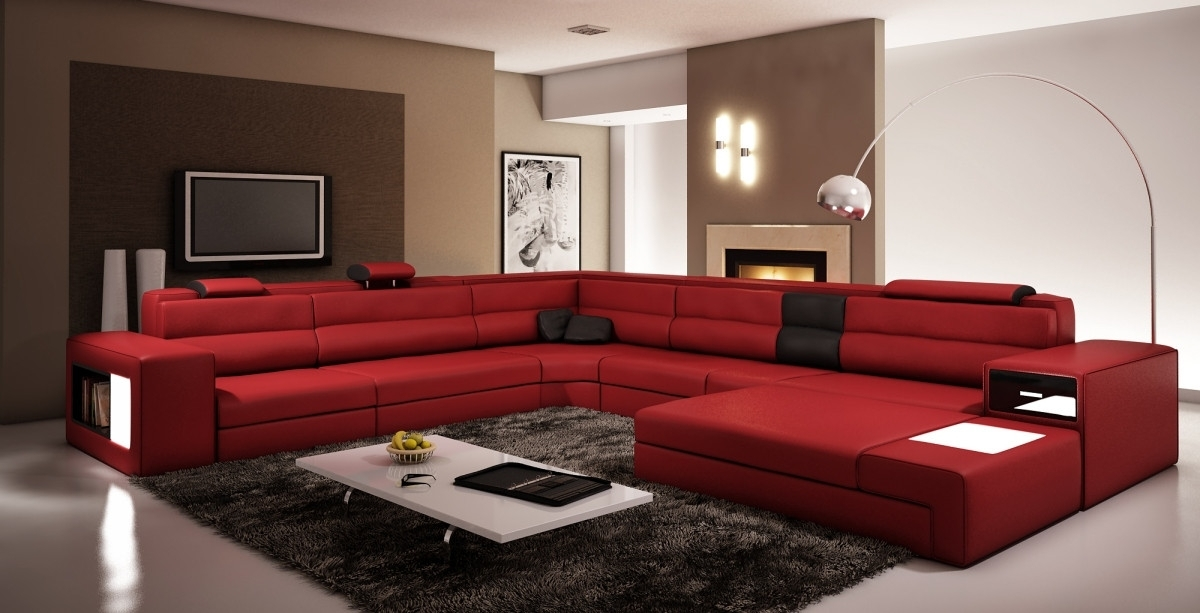 Dark Red Bonded Leather Sectional Sofa In Red Sectional Sofas (Image 4 of 10)