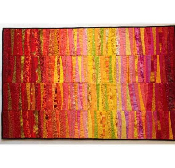 Dawn Quilted Wall Hanging. Abstract Textile Art. Modern Quilt (Image 7 of 20)
