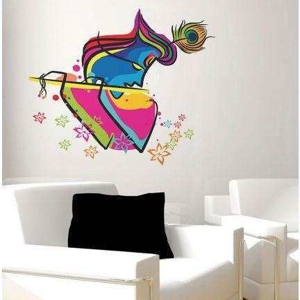 Decal Dzine Abstract Art Krishna Wall Sticker – Add Oodles Of Throughout Abstract Graphic Wall Art (Image 9 of 20)