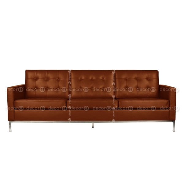 Decor8 Modern Furniture Florence Leather 3 Seat Sofa, Three Seater With Regard To Florence Leather Sofas (Image 2 of 10)