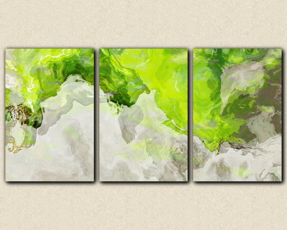 Decorating Ideas: Breathtaking Picture Of Decorative Triple With Lime Green Abstract Wall Art (Image 6 of 20)