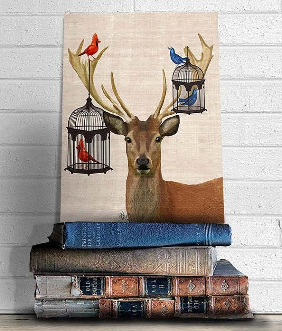 Deer Canvas Art Print Deer Bird Cages Art Print Digital Throughout Deer Canvas Wall Art (View 20 of 20)