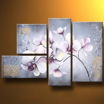 Delicate Orchids Modern Canvas Art Wall Decor Floral Oil Painting For Orchid Canvas Wall Art (Image 9 of 20)