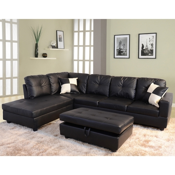 Delma 3 Piece Faux Leather Left Facing Chaise Sectional Set, Black With Black Leather Sectionals With Ottoman (Image 8 of 10)