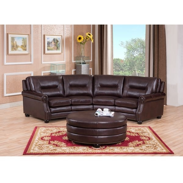 Delta Chocolate Brown Curved Top Grain Leather Sectional Sofa And In Curved Recliner Sofas (View 3 of 10)