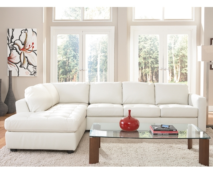 "Denver"" White Leather Sectional With Chaise,natuzzi (Image 3 of 10)"