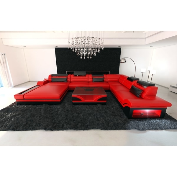 Design Red Leather Sectional Sofa Orlando Xxl With Led Lights – Free With Regard To Red Leather Sectional Couches (Image 2 of 10)
